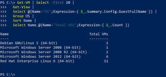 Count Unique OS's Per vCenter   The Surly Admin